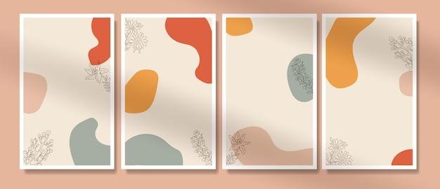 Formas abstratas mínimas e pôster de boho de flores