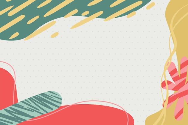 Formas abstratas modernas de memphis coloridas vermelho verde amarelo pastel com fundo de bolinhas vetoriais