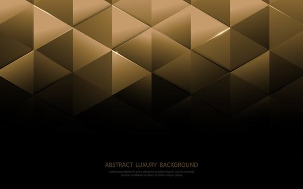 Formas abstratas triângulo de ouro e fundo padrão de luxo