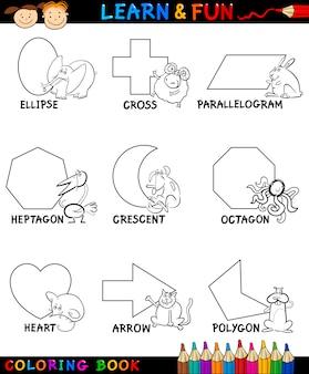 Formas básicas com animais para colorir