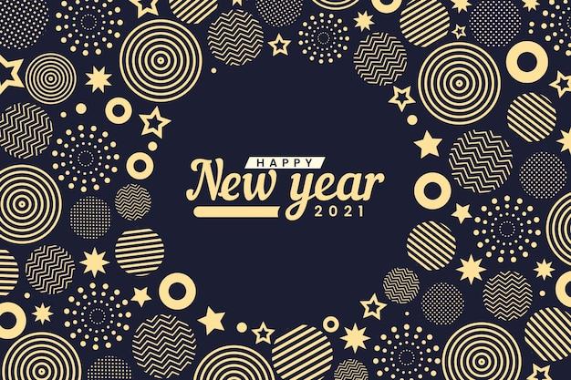 Formas circulares abstratas douradas feliz ano novo 2021