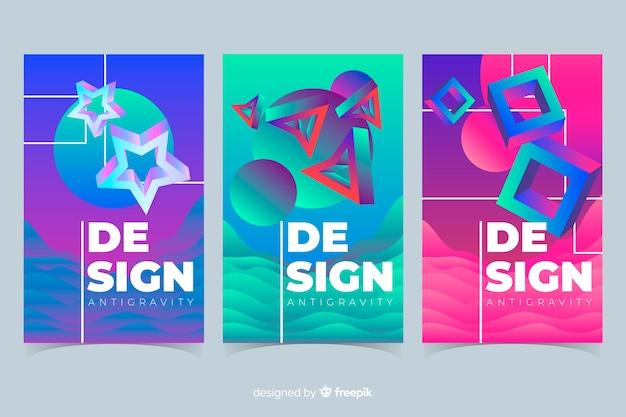Formas coloridas 3d coleção de cobertura flutuante