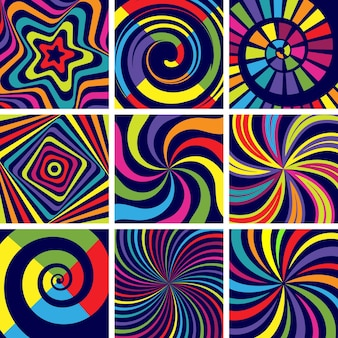 Formas coloridas hipnóticas. papel de parede moderno de fundo espiral redondo abstrato para clínica de psicologia.