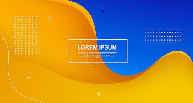 Formas coloridas líquidas abstraem base de modelo de onda mínima futurista