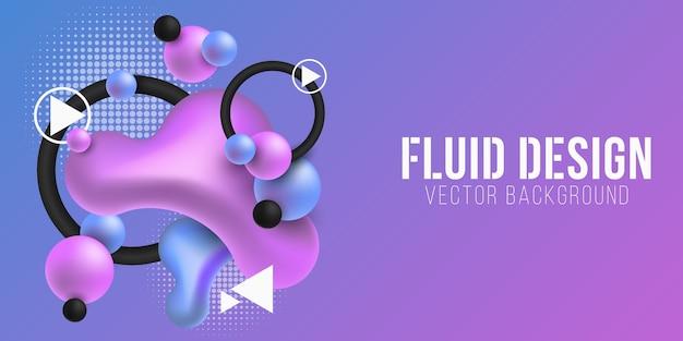 Formas coloridas líquidas em um fundo azul-púrpura. conceito de formas de gradiente fluido. elementos geométricos abstratos. fundo futurista.