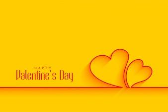 Formas de corações de linha mínima em fundo amarelo