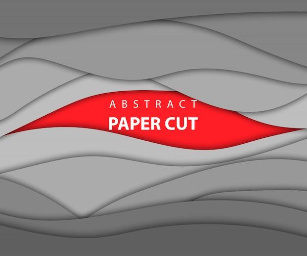 Formas de corte de papel de cor vermelha e cinza do fundo. estilo de arte em papel abstrato 3d, layout de design para apresentações de negócios, folhetos, cartazes, gravuras, decoração, cartões, capa de brochura.