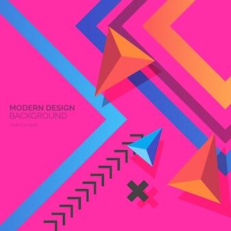 Formas de design moderno com fundo colorido
