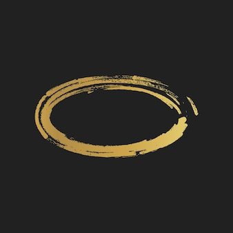 Formas de elipse pintadas vintage de grunge dourado. ilustração vetorial.