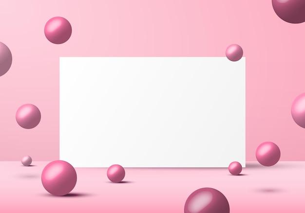 Formas de esferas 3d realistas de bolas-de-rosa com moldura branca.