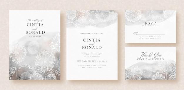 Formas de flores em cartão de casamento de fundo salpicado