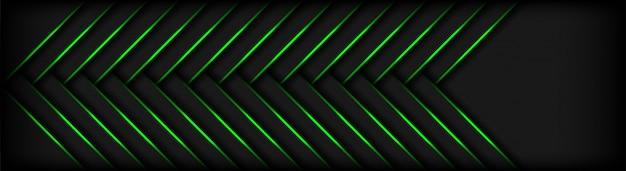 Formas de geometria 3d modernas escuras com fundo de linhas verdes