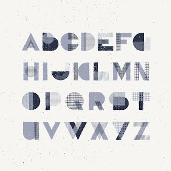 Formas de geometria de efeito de carimbo e texturas desenhadas à mão fonte maiúscula decorativa, tipo latino gráfico monocromático.