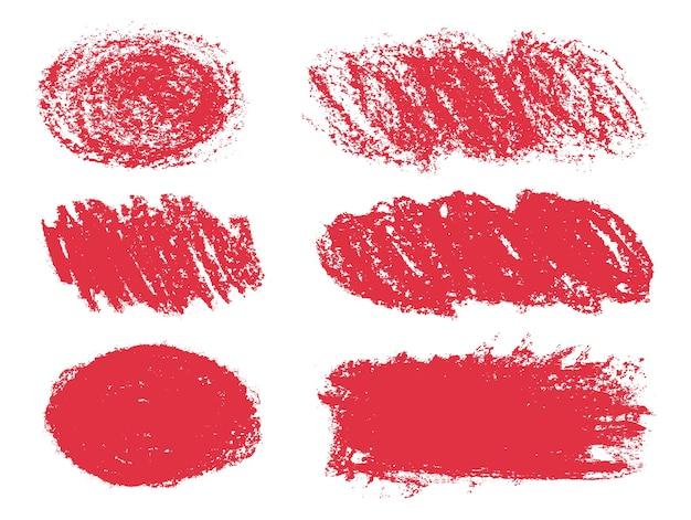 Formas de grunge desenhadas à mão vermelha