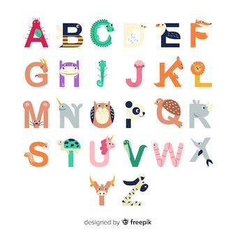 Formas de letra do alfabeto com animais