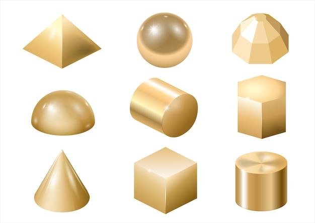 Formas de metal ouro