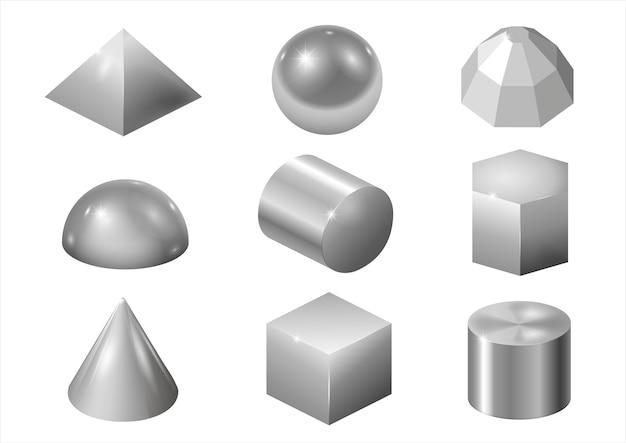 Formas de metal prateado