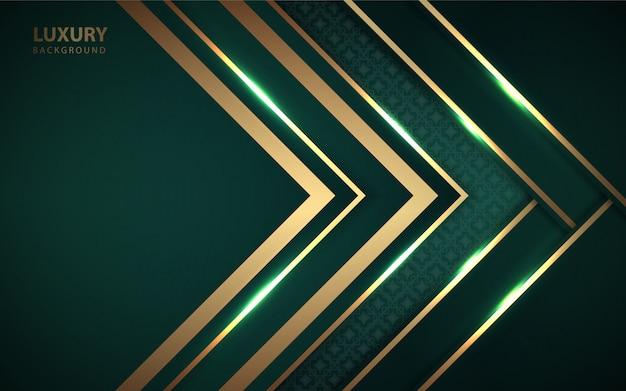 Formas de papel verde de luxo com decoração com luz dourada