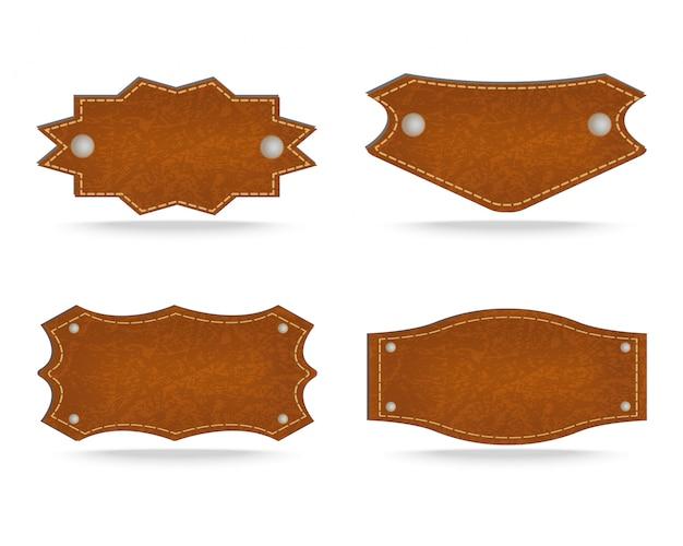 Formas de tag de couro