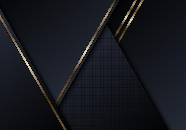 Formas de triângulos pretos abstratos com estilo luxuoso de fundo de linhas douradas brilhantes. ilustração vetorial
