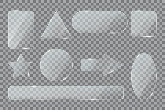 Formas de vidro plástico estrela seta elipse retângulo triângulo acrílico transparente 3d botões realistas