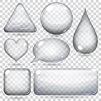 Formas de vidro transparente ou botões de várias formas