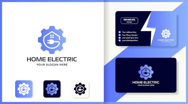 Formas design de logotipo de casa de plugue de engrenagem e cartão de visita