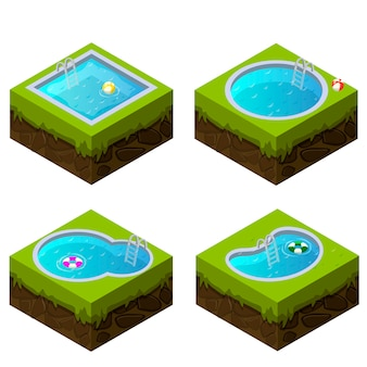 Formas diferentes de piscina isométrica