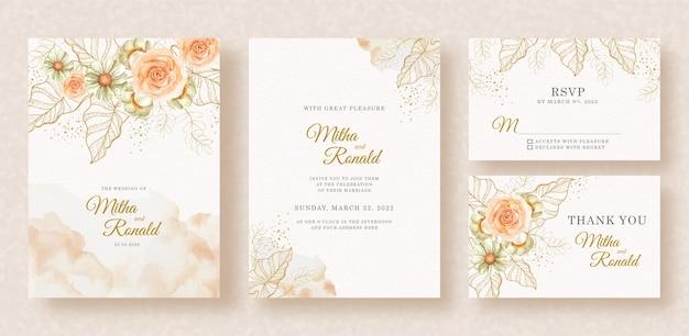 Formas exóticas de flores e folhas de ouro com pintura respingada no background do convite de casamento