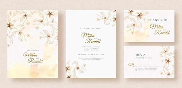 Formas florais pintura em aquarela com respingos no fundo do convite de casamento