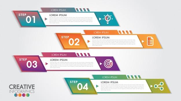 Formas geométricas abstratas da bandeira horizontal do negócio com projeto de 4 etapas ou opções