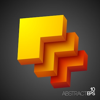 Formas geométricas abstratas em 3d laranja