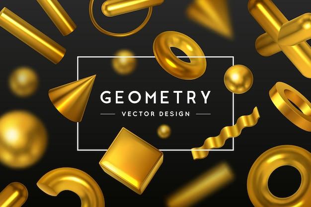 Formas geométricas abstratas em fundo preto com composição de elementos geométricos dourados