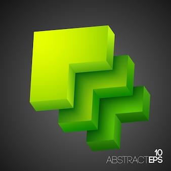Formas geométricas abstratas verdes em 3d