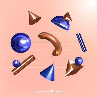 Formas geométricas antigravidade com efeito 3d