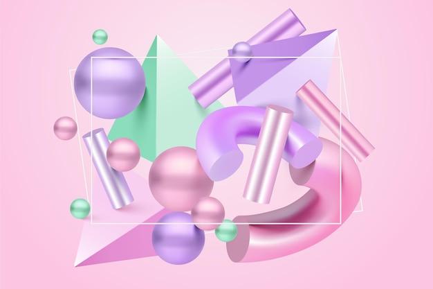 Formas geométricas antigravidade em efeito 3d