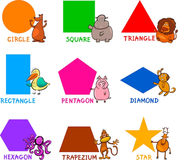 Formas geométricas básicas com animais de desenho animado