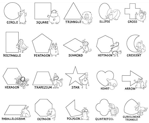 Formas geométricas básicas com caracteres animais