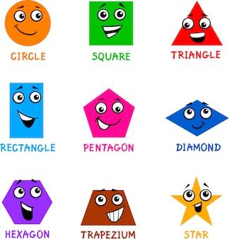 Formas geométricas básicas com rostos de desenho animado