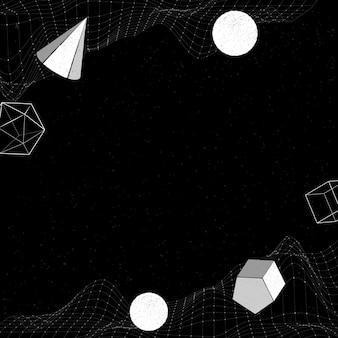 Formas geométricas brancas em um fundo com padrão de onda wireframe