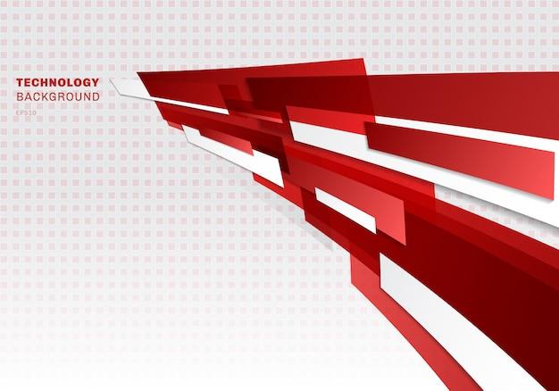 Formas geométricas brilhantes vermelhas e brancas abstratas