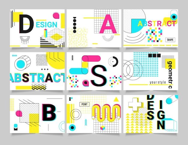 Formas geométricas. cartões de pôster geométrico da tendência memphis