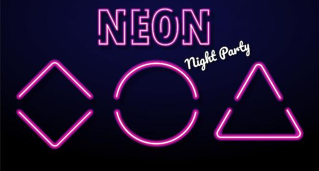 Formas geométricas coloridas da luz de néon iluminadas. triângulo, quadrado e círculo
