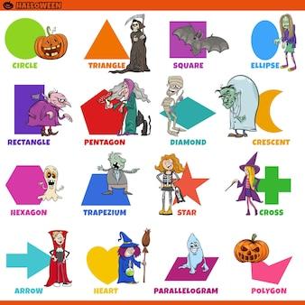 Formas geométricas com legendas e personagens de desenhos animados de halloween para crianças