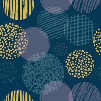 Formas geométricas com padrão sem emenda de círculos texturizados