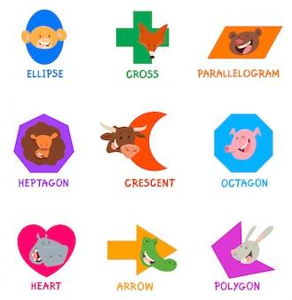 Formas geométricas com personagens animais engraçados
