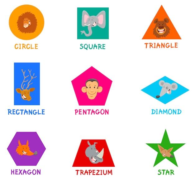 Formas geométricas com personagens animais fofos
