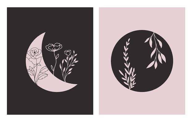 Formas geométricas contemporâneas abstratas e flores na lua, um estilo moderno e moderno