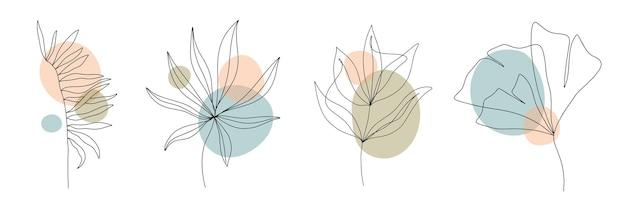 Formas geométricas contemporâneas abstratas, folhas e flores em um estilo moderno e moderno