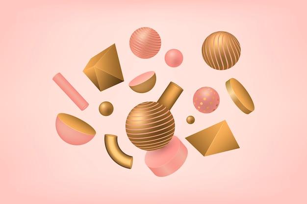 Formas geométricas de antigravidade em efeito 3d